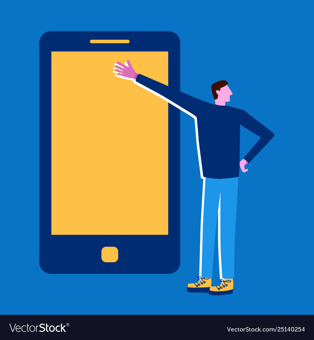 Man with phone presentation mobile