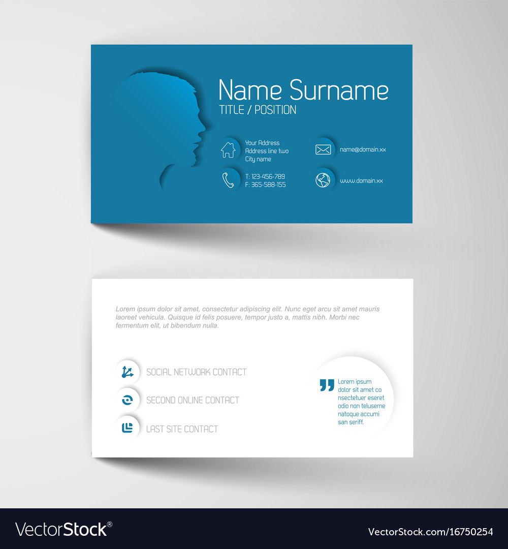 Modern blue business card template with flat user vector image cheaphphosting Image collections