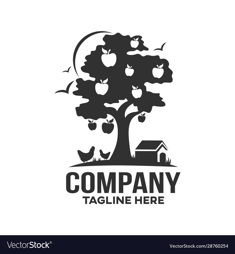 Modern Farm And Apple Tree Logo Royalty Free Vector Image