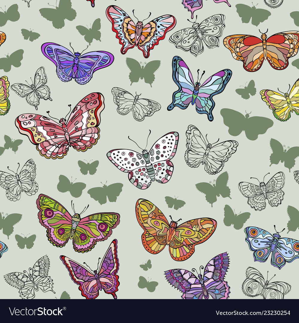 Seamless pattern with flying butterflies