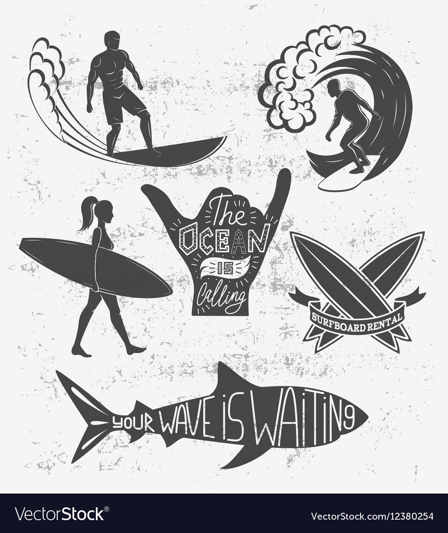 Set of surfing vintage design elements Surf logo