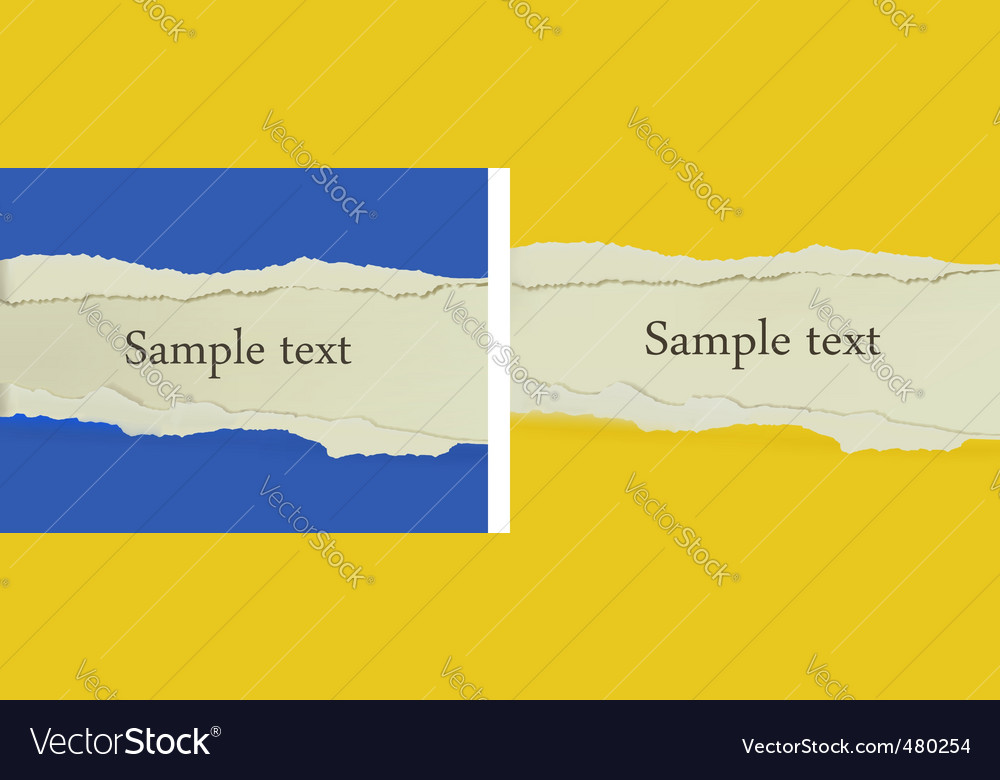 Two ripped papers vector image