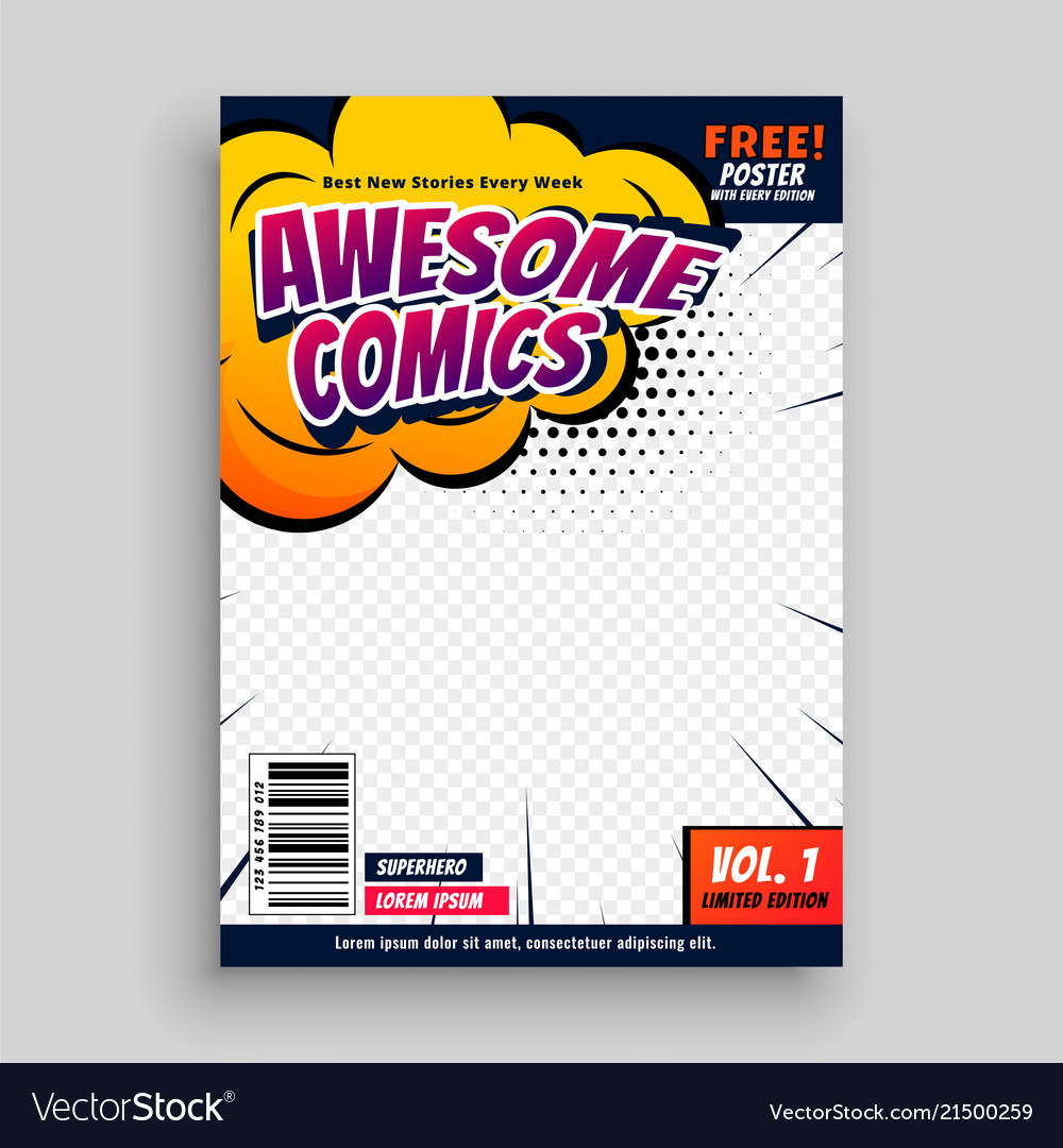 awesome comic book cover page design template vector image