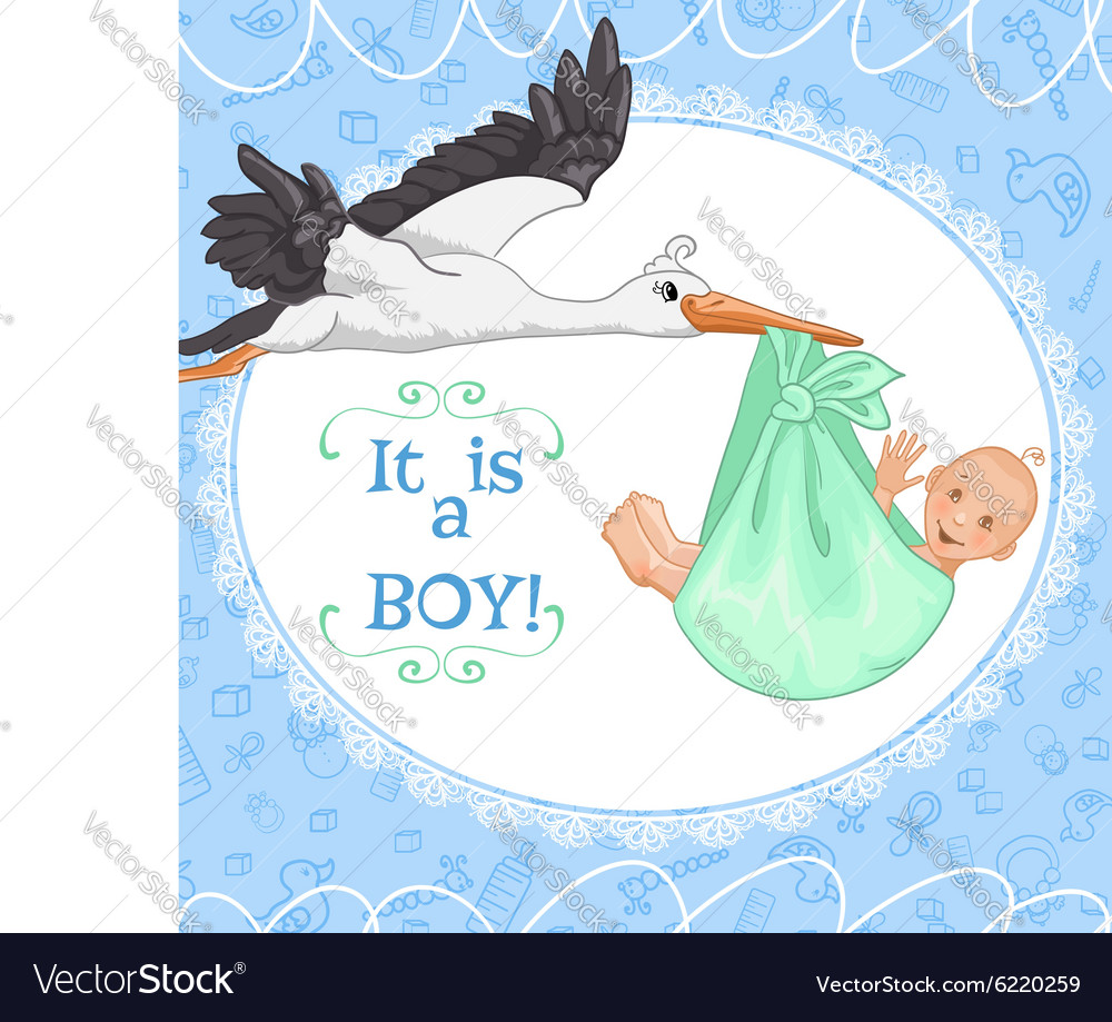 Baby greetings card with stork and baby boy eps10 vector image m4hsunfo