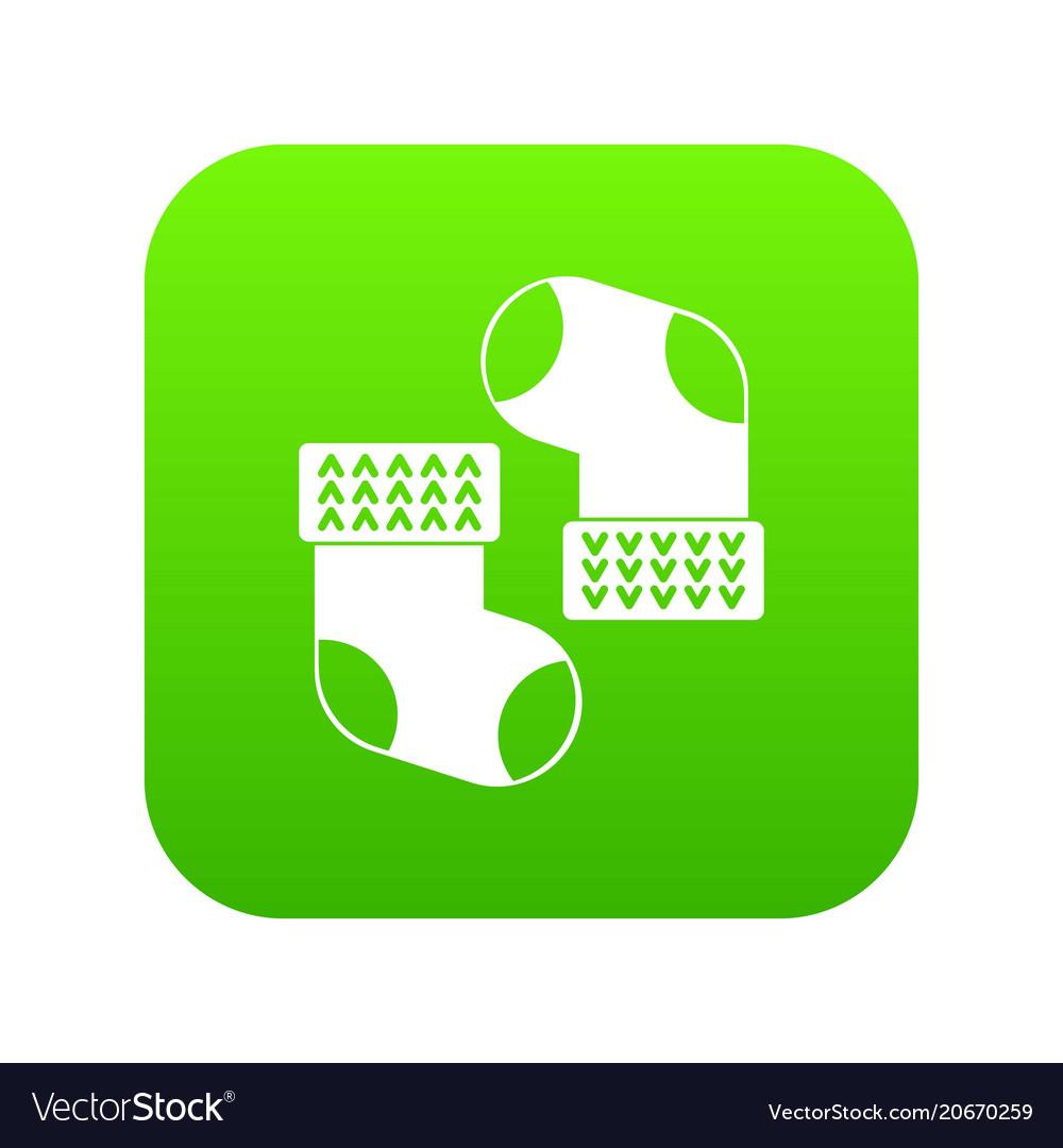 Baby socks icon digital green vector image