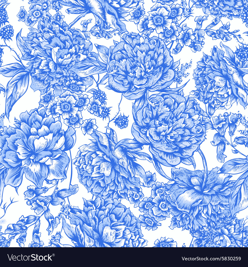 Blue Floral Seamless Pattern with Peonies in