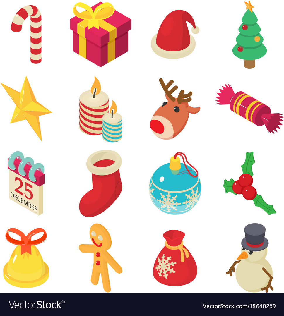 Christmas icons set isometric style