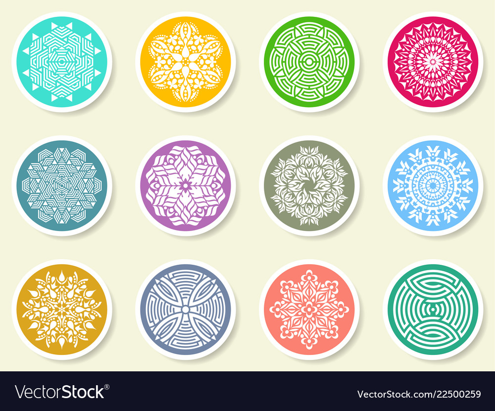 Colorful round abstract mandala set on labels