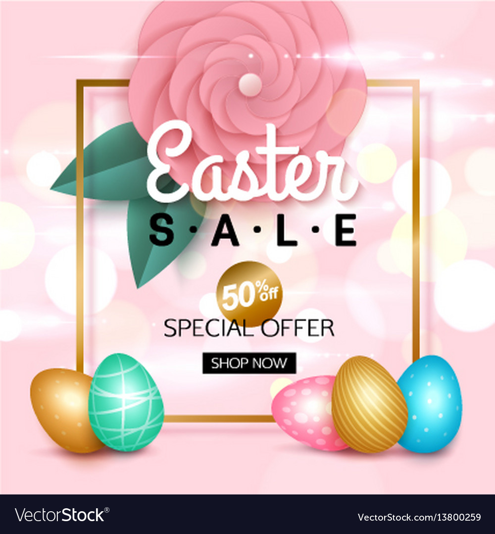 Easter sale banner with colorful eggs