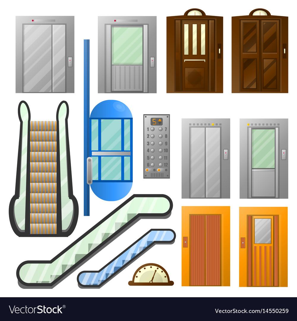 Elevators or escalator lifts isolated icons