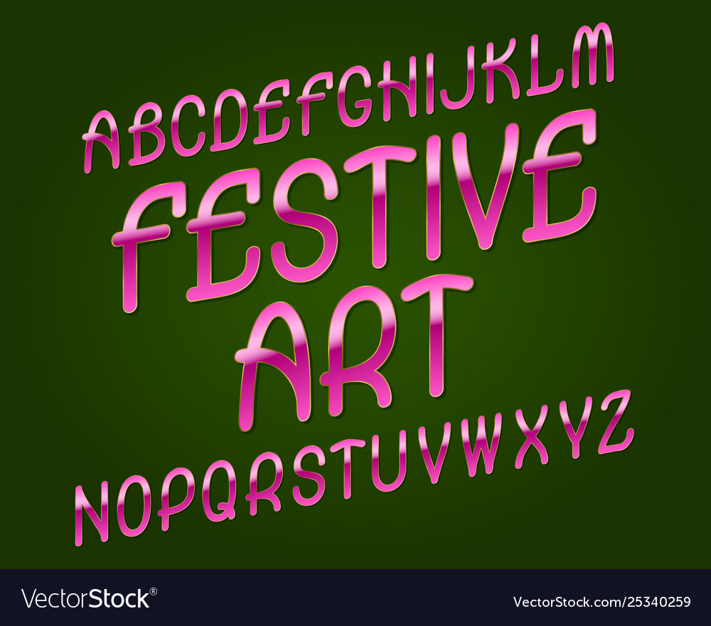Festive art typeface pink golden font isolated