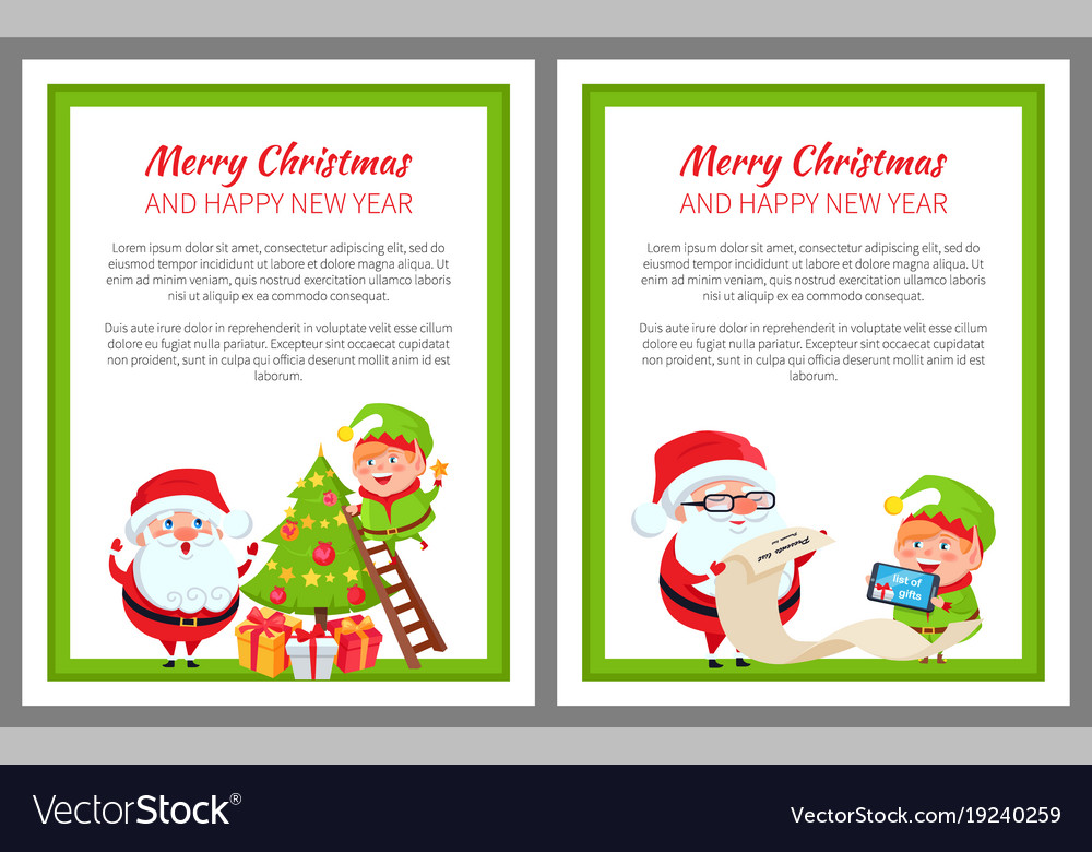 Happy new year and merry christmas santa and elf vector image