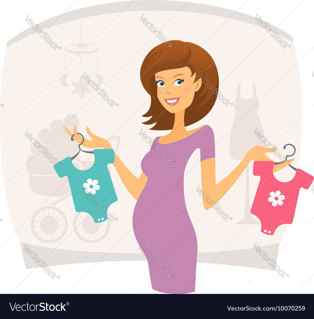 Happy pregnant woman with baby clothes