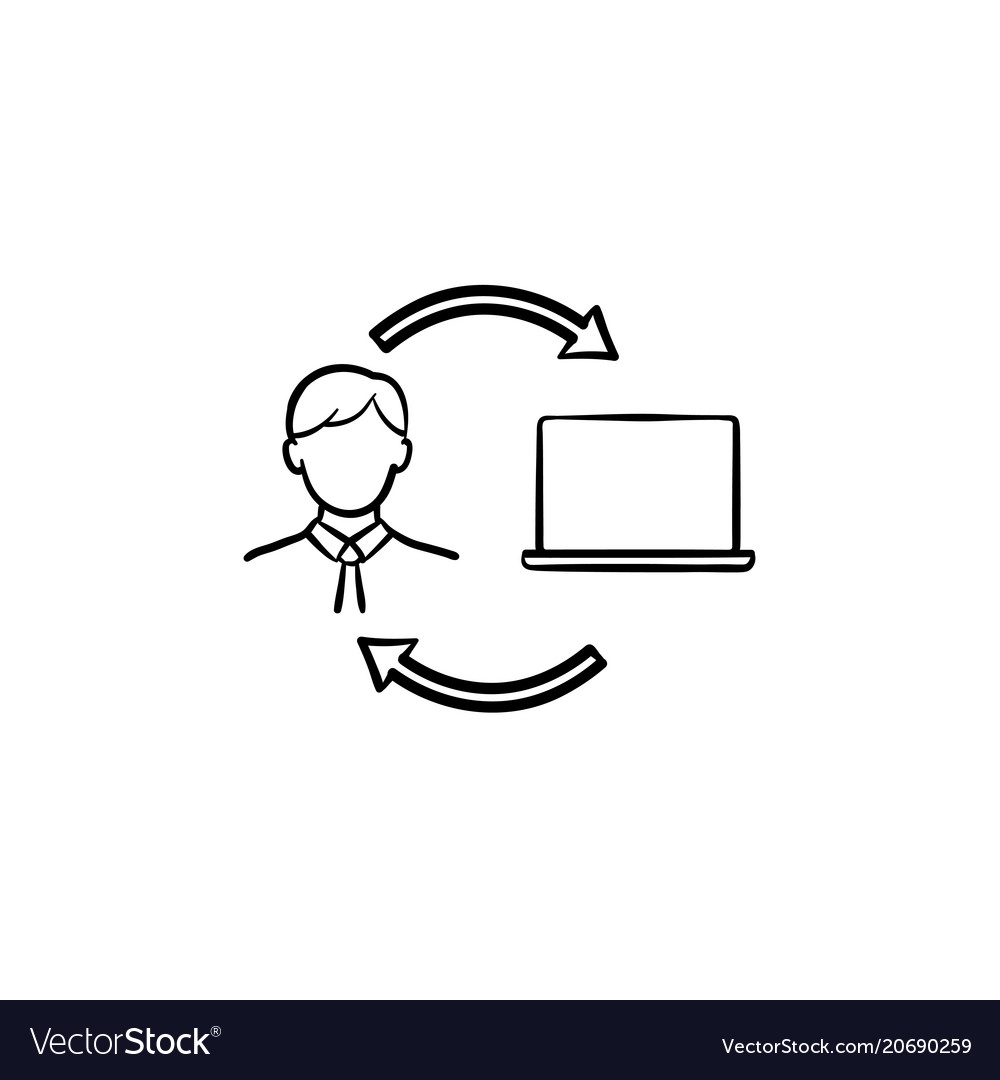 Man studying online on computer hand drawn icon
