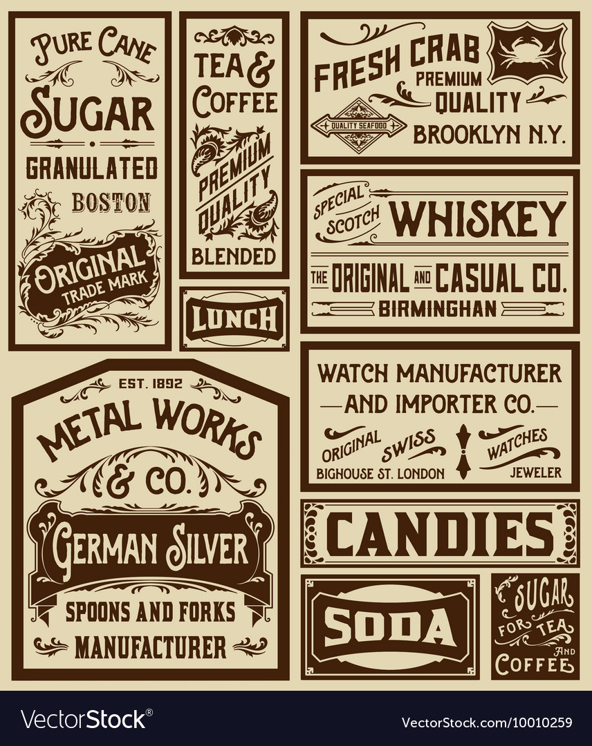Mega pack old advertisement designs and labels vector image