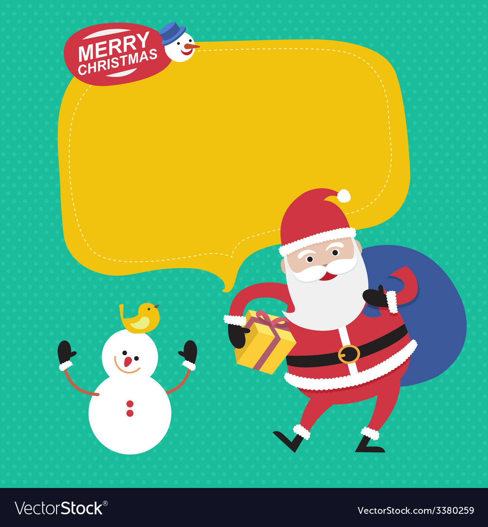 Merry Christmas with Santa Claus and snowman