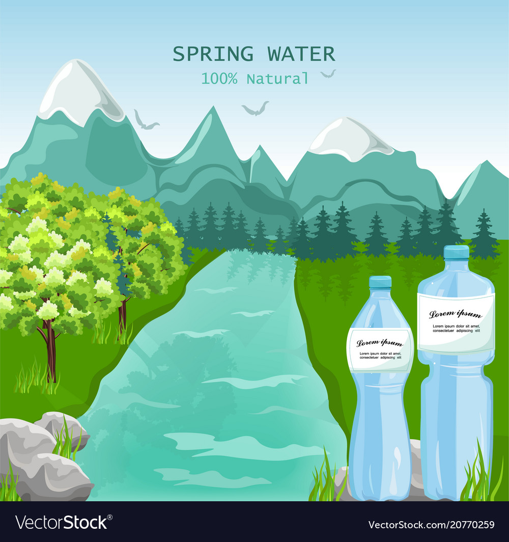 Mountains Water Beauty Nature Spring Green Vector Image 100