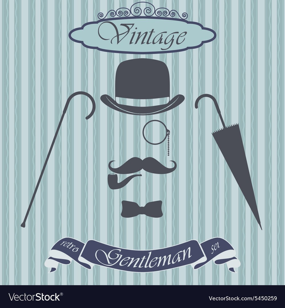 7d29ddeb4cefc1 Retro gentleman elements set - bowler moustache Vector Image