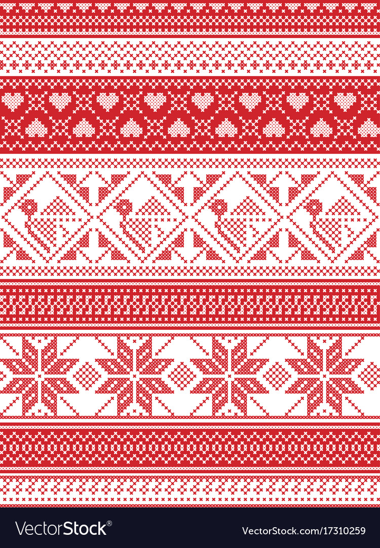 Seamless nordic christmas pattern Royalty Free Vector Image
