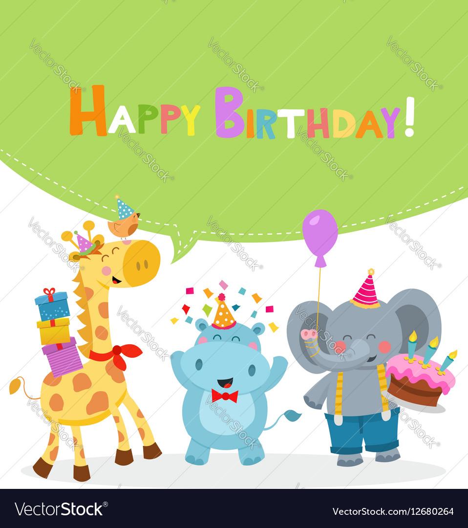 Animal Birthday Card Royalty Free Vector Image