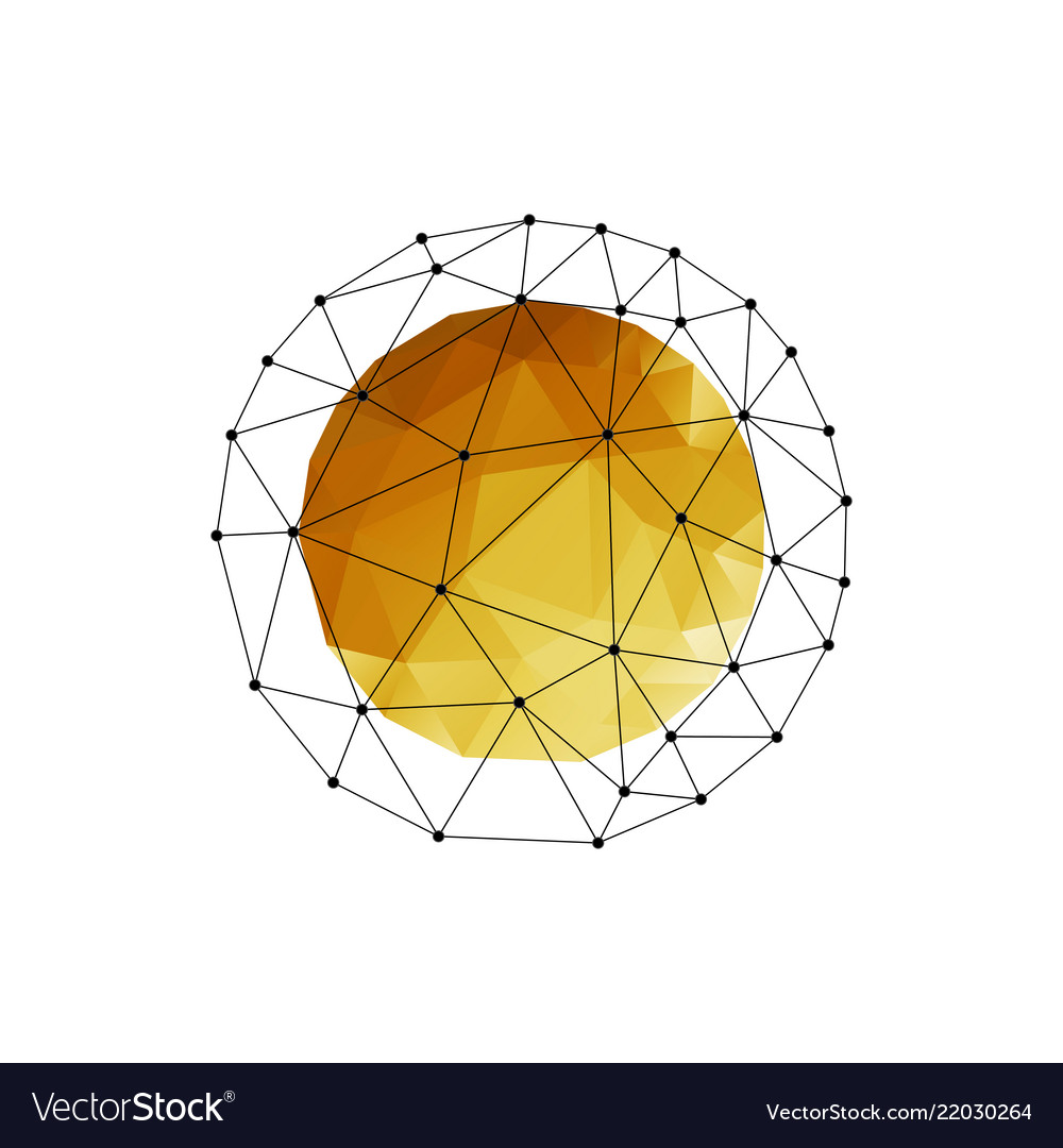 Color abstract geometric sphere with gold