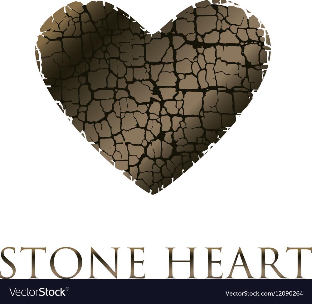 Concept abstract broken heart modern style stone vector image