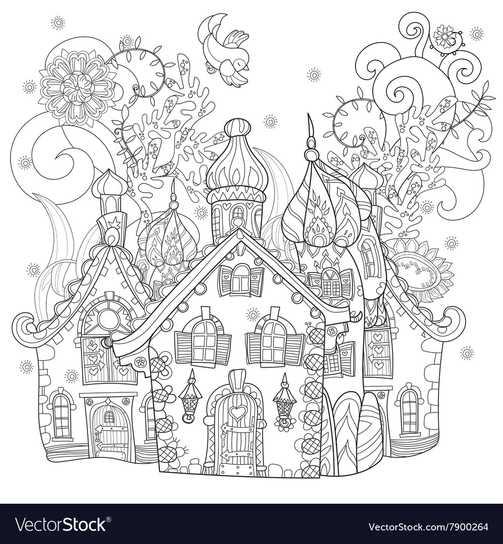 Cute fairy tale town doodle