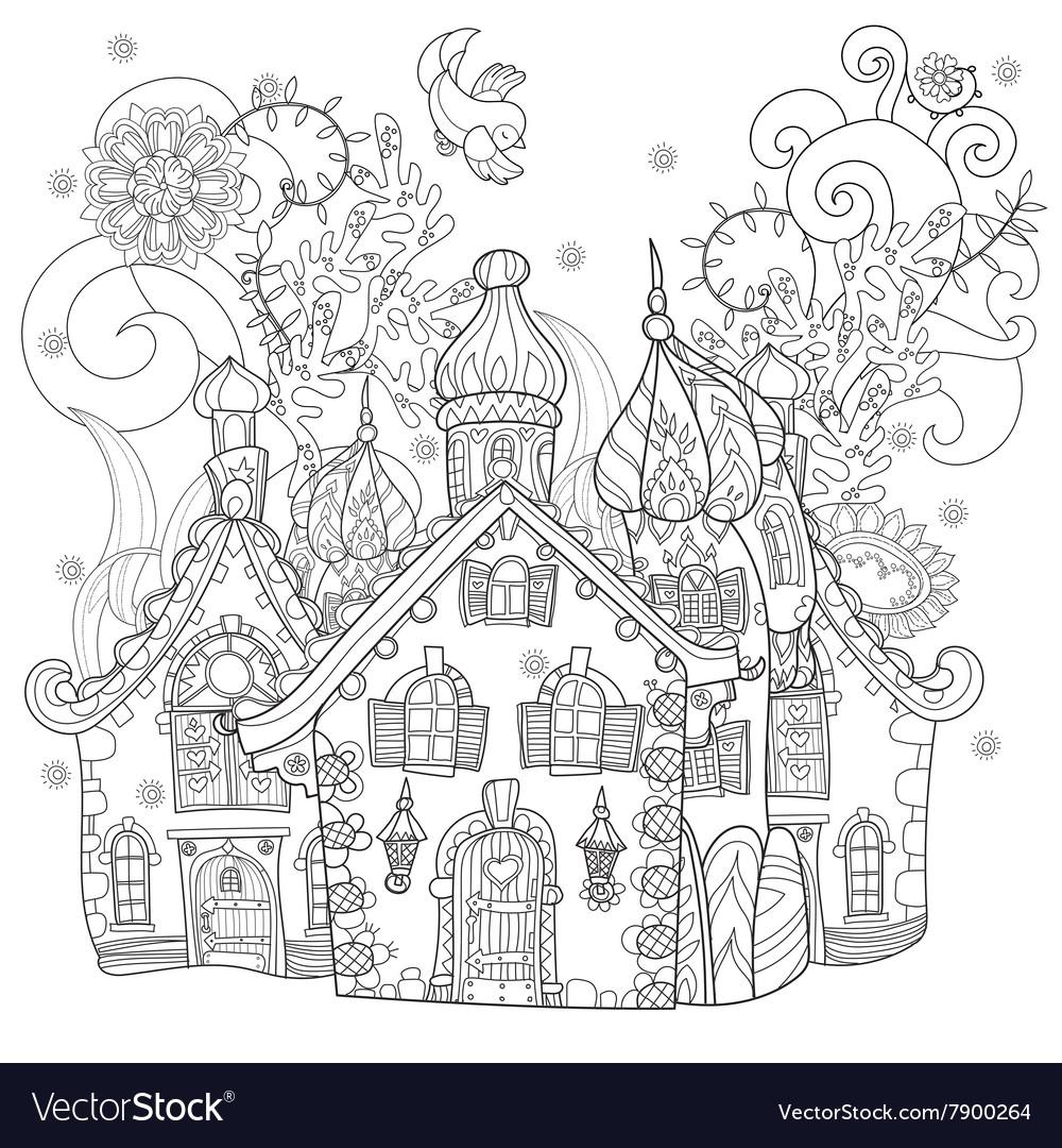 Cute fairy tale town doodle vector image