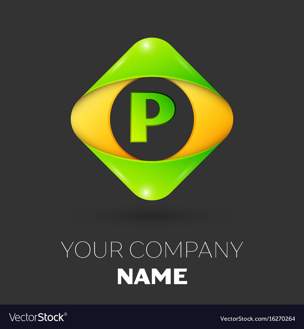 Letter P Logo Symbol In Colorful Rhombus Vector Image