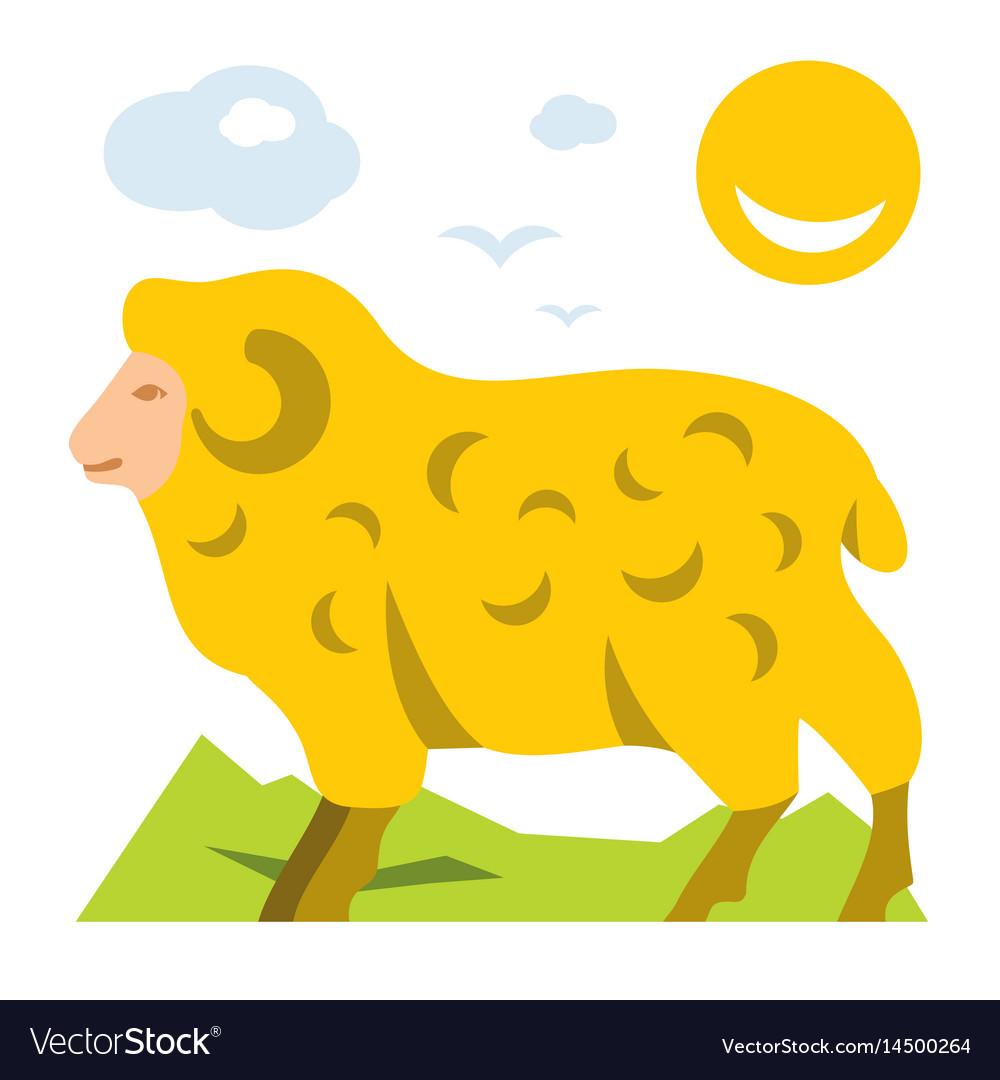 Mountain sheep flat style colorful cartoon vector image