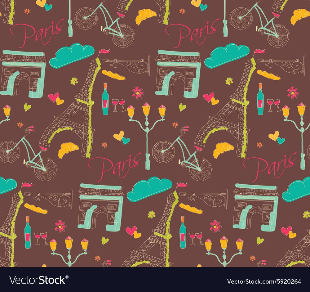 Paris symbols postcard seamless pattern