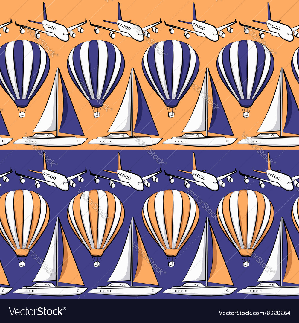 Seamless pattern with boat airplane air balloon