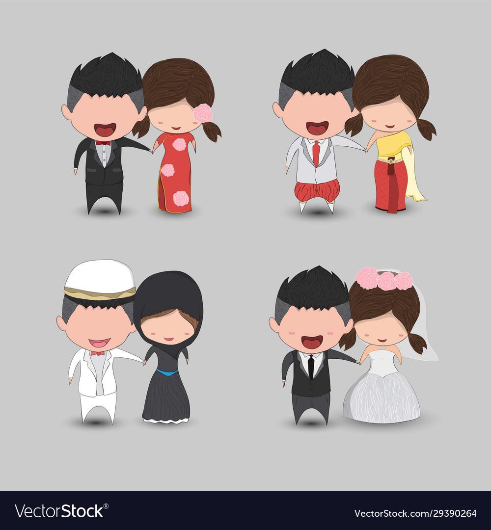 Set Cute Cartoon Wedding Couple Men And Women Vector Image