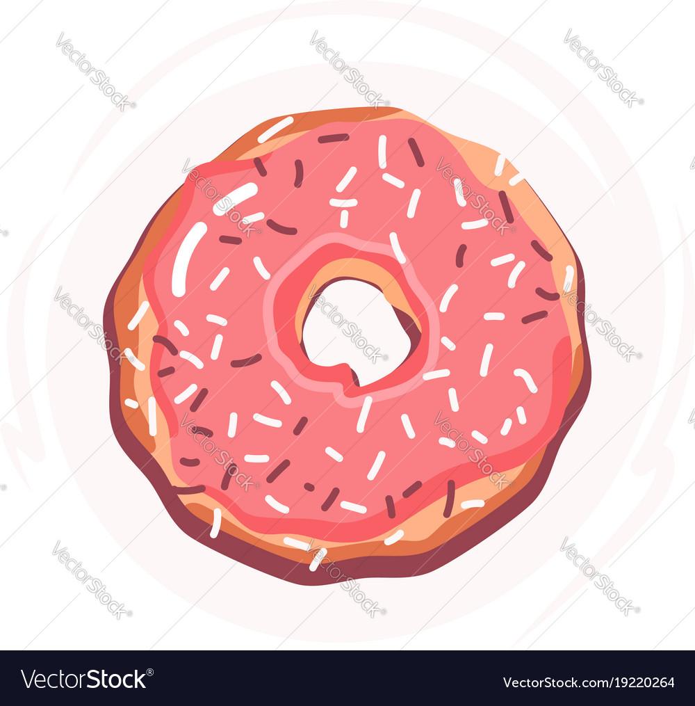 Sugar donut with pink glaze donut icon