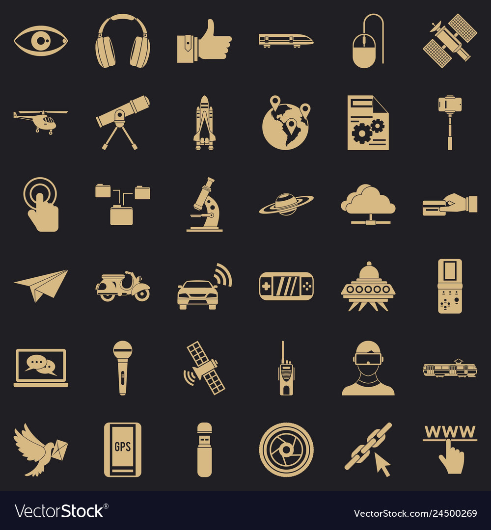Broadcasting technology icons set simple style