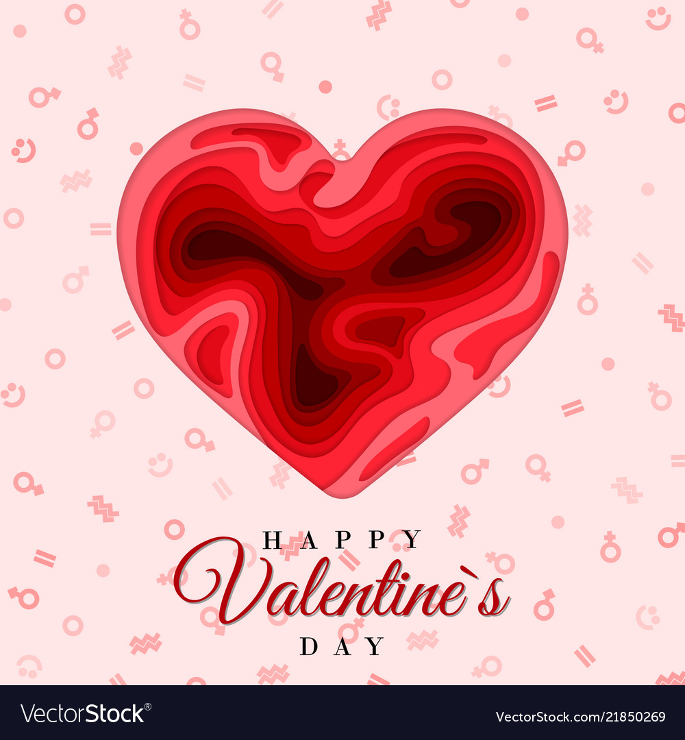 Happy Valentines Day 3d Paper Cut Heart Concept Vector Image