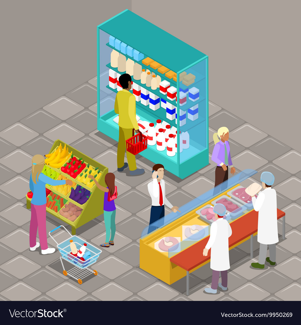 Isometric Supermarket Interior with Products