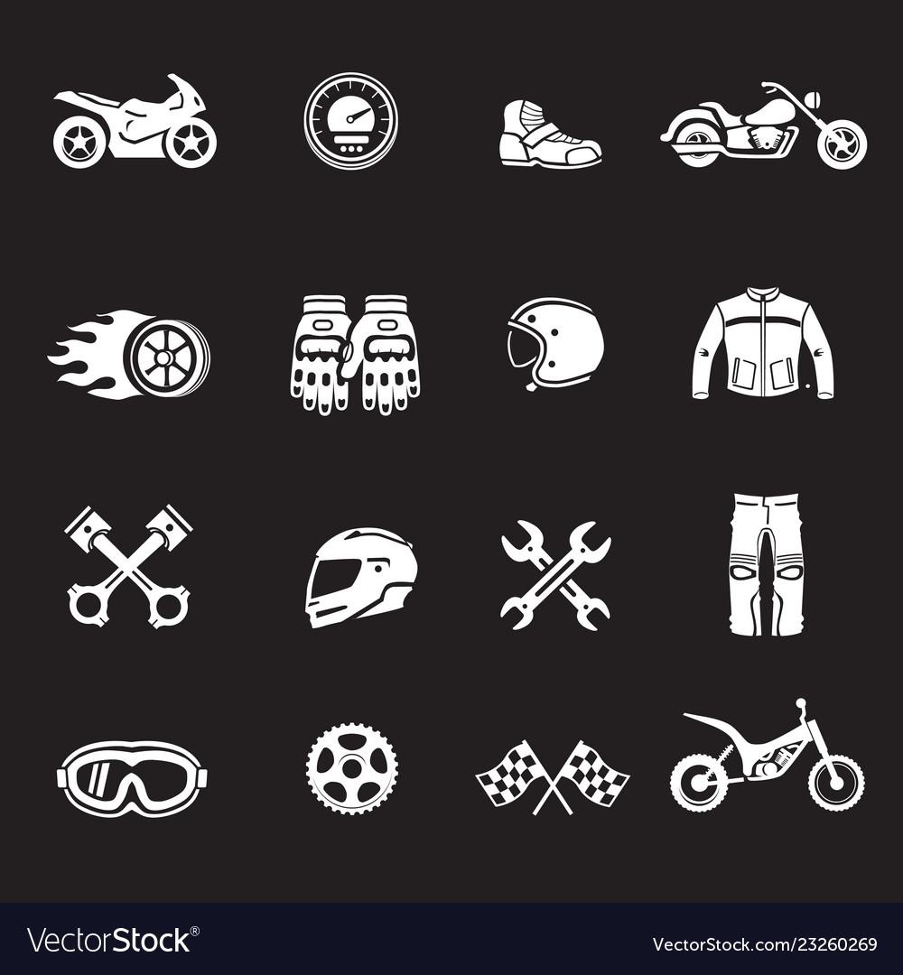 Motorcycles racing icons motosport symbols