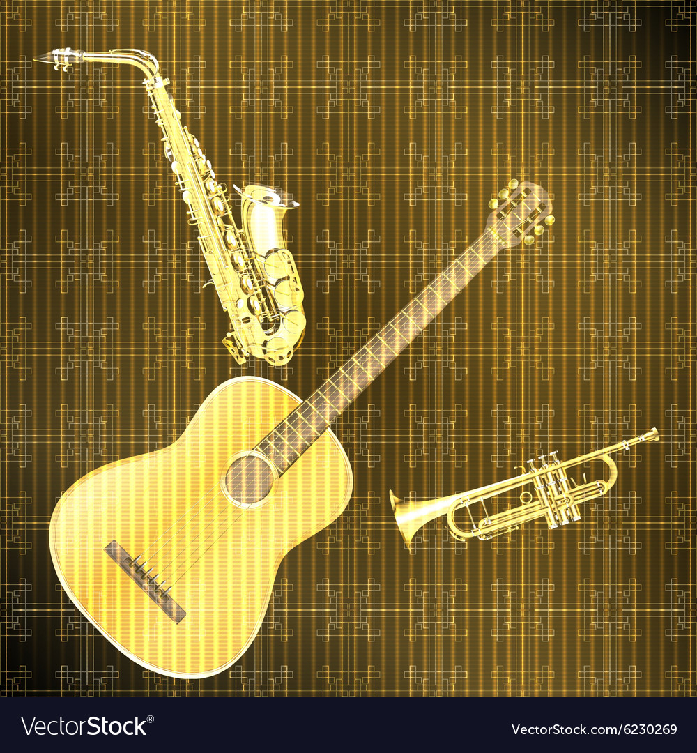 Musical background guitar saxophone and trumpet