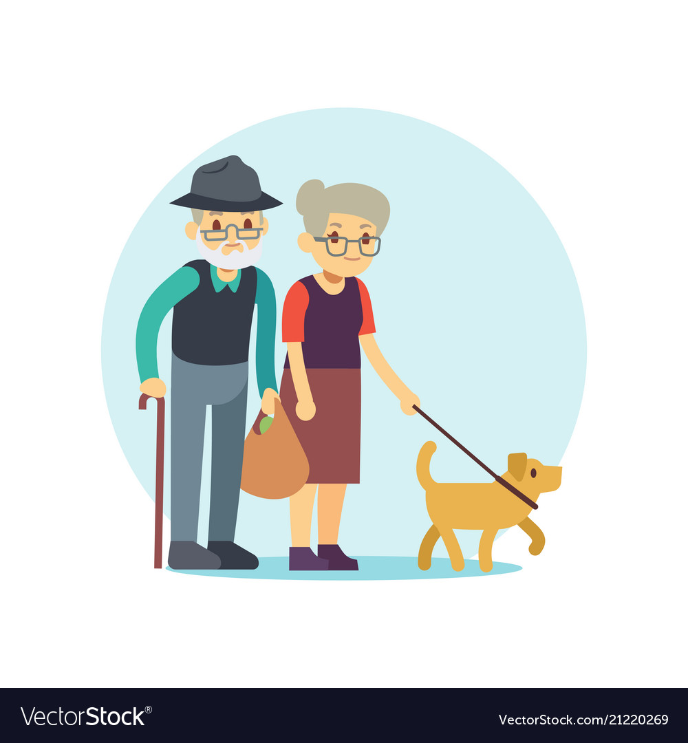 Old couple walking with cute dog eldery family