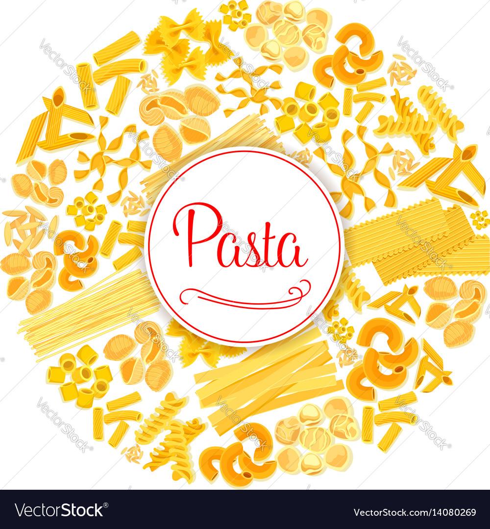 Pasta or macaroni round italian poster