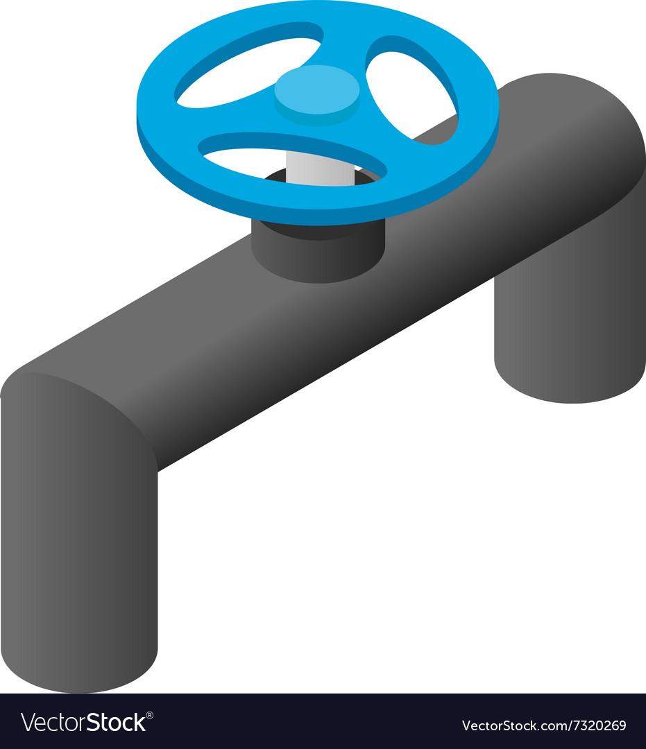 Pipeline valve stopcock isometric 3d icon vector image
