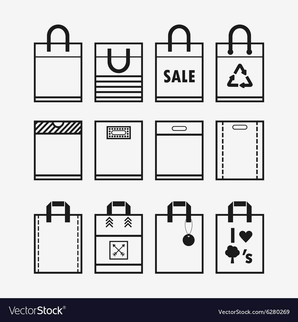 Recycle and hopping bags icons set