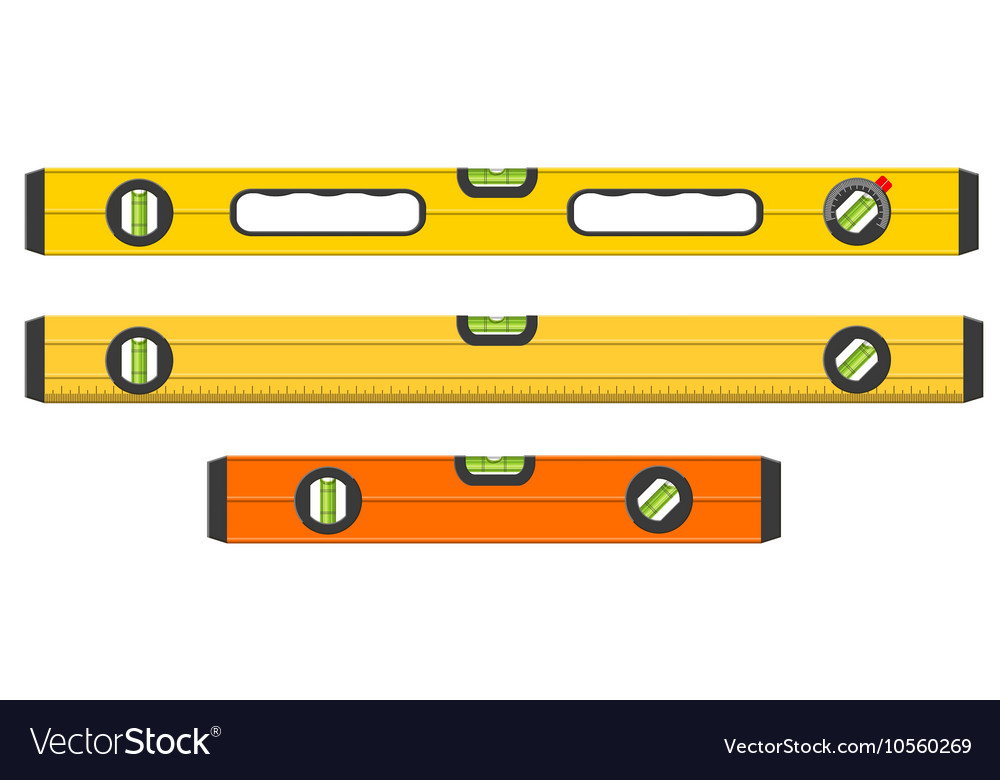Set of three spirit levels isolated on white vector image