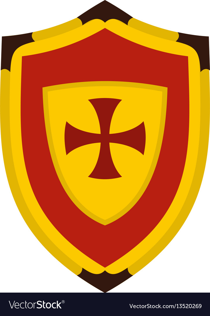 Shield with cross icon flat style