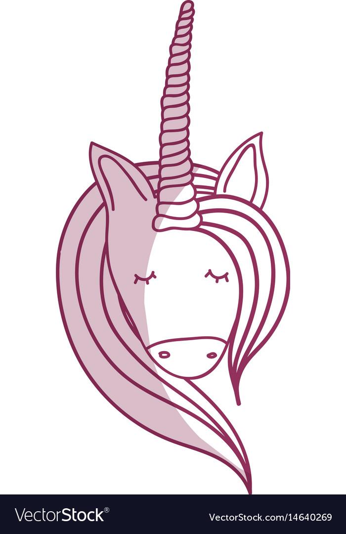 Silhoue beautiful head unicorn with long mane