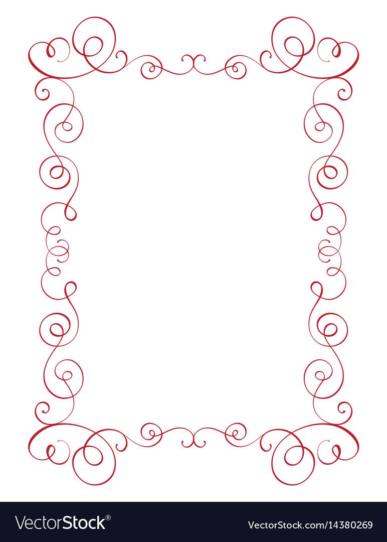 Square flourish calligraphy vintage frame
