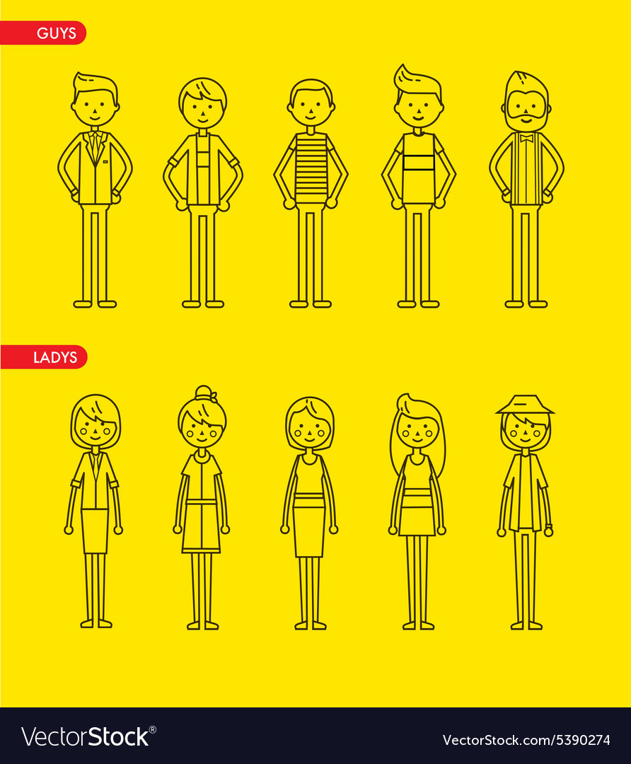 Casual set characters for use in design