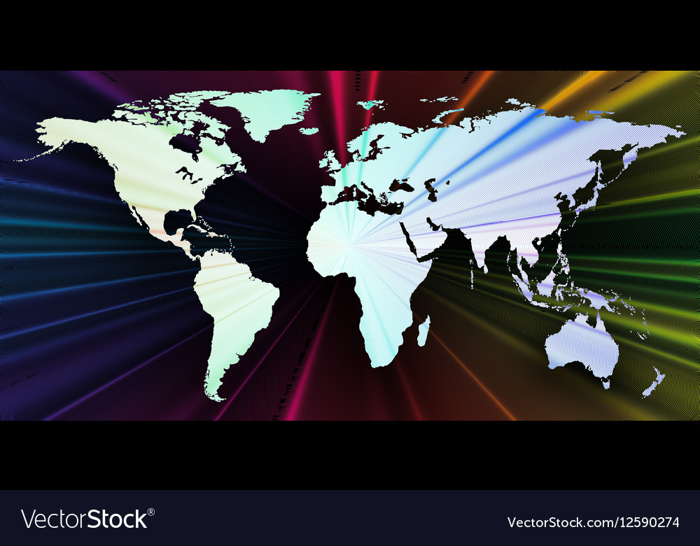 Colorful 3d background with world map abstract