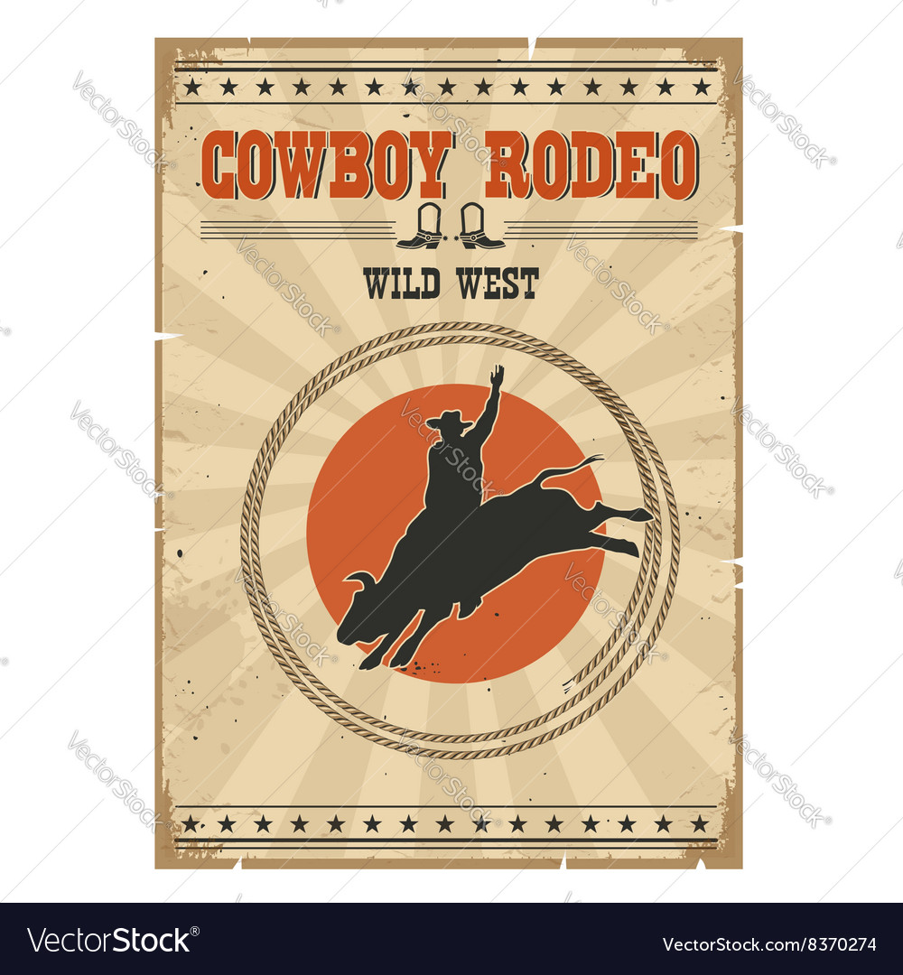 Cowboy wild bull rodeo posterWestern vintage with